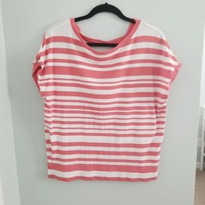 NWOT Coral and White Striped Sweater